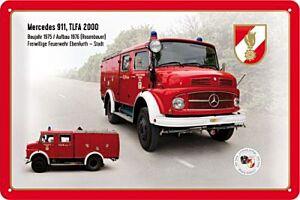 """Blechschild """"FEUERWEHR Mercedes 911, TLFA 2000"""""""