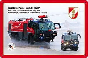 """Blechschild """"FEUERWEHR Rosenbauer Panther 6x6 S"""""""