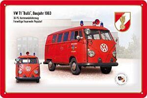 """Blechschild """"FEUERWEHR VW T1 Bulli"""""""