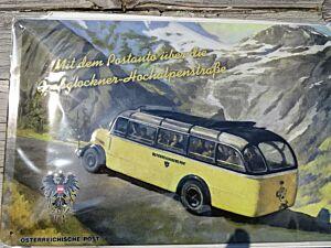 """Blechschild """"Mit dem Postauto über Großglockner"""""""